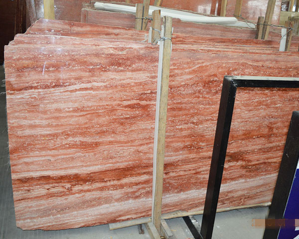 Iran wood grain red travertine marble stone for sale